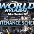 World Hyundai Matteson Maintenance Schedule 3,000 Mile Service HYZ03…………$29.95* Oil & Filter Change Check Fluids & Top Off As Needed Lubricate All Locks, Latches, & Hinges Check & Adjust Tire […]