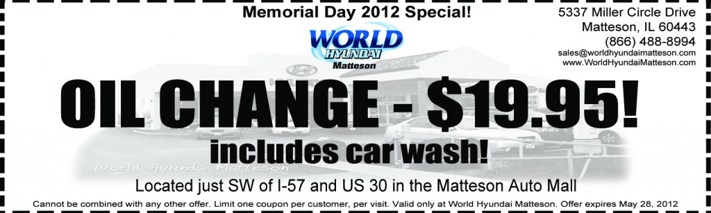 Memorial Day Oil Change Coupon in Chicago