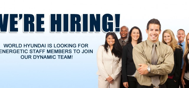 World Hyundai in the Matteson Auto Mall is looking for new people to work with our dynamic and successful staff here at our dealership! We're hiring for multiple positions, including […]